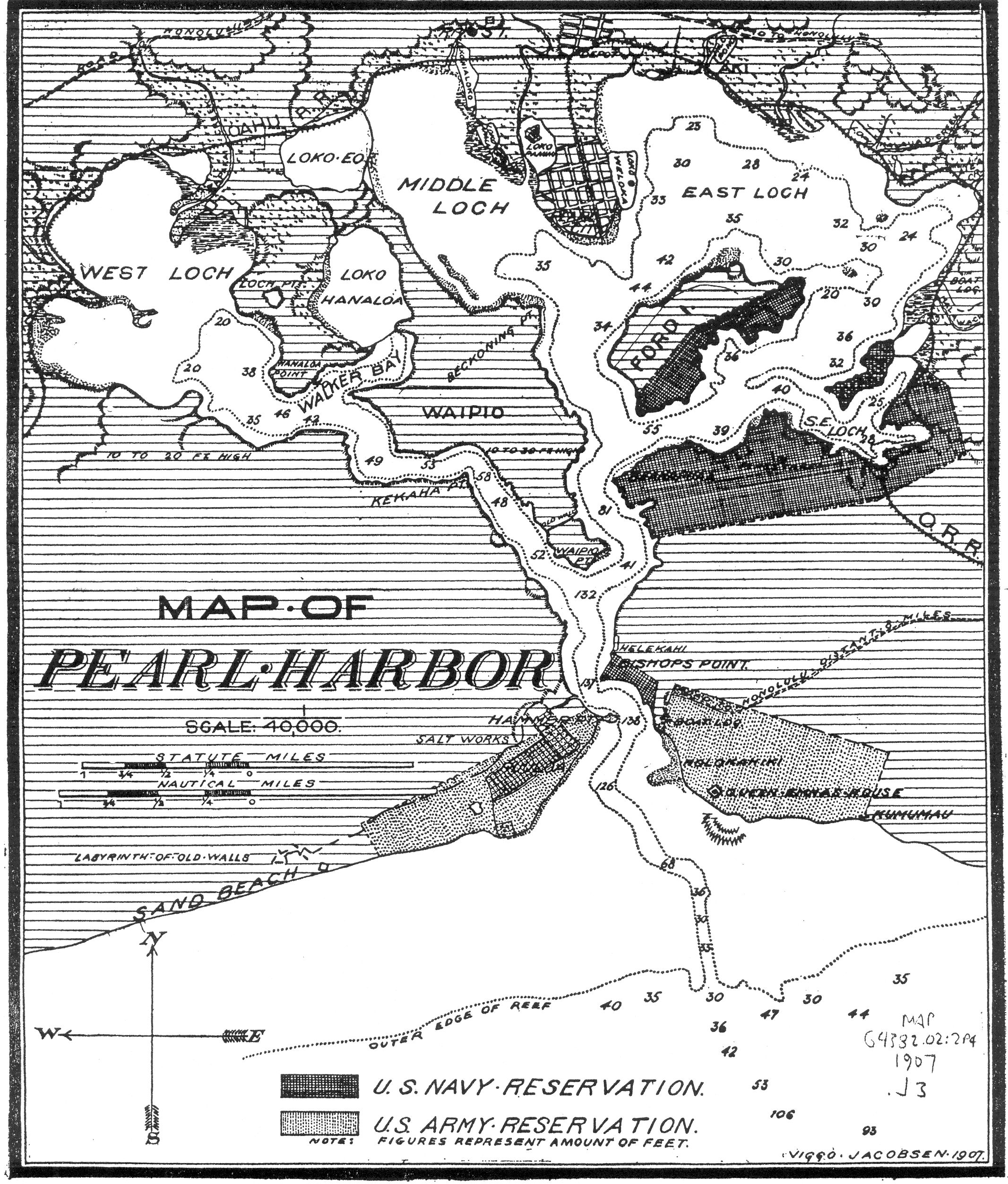 1907 Map Of Pearl Harbor Showing Navy And Army Reservations