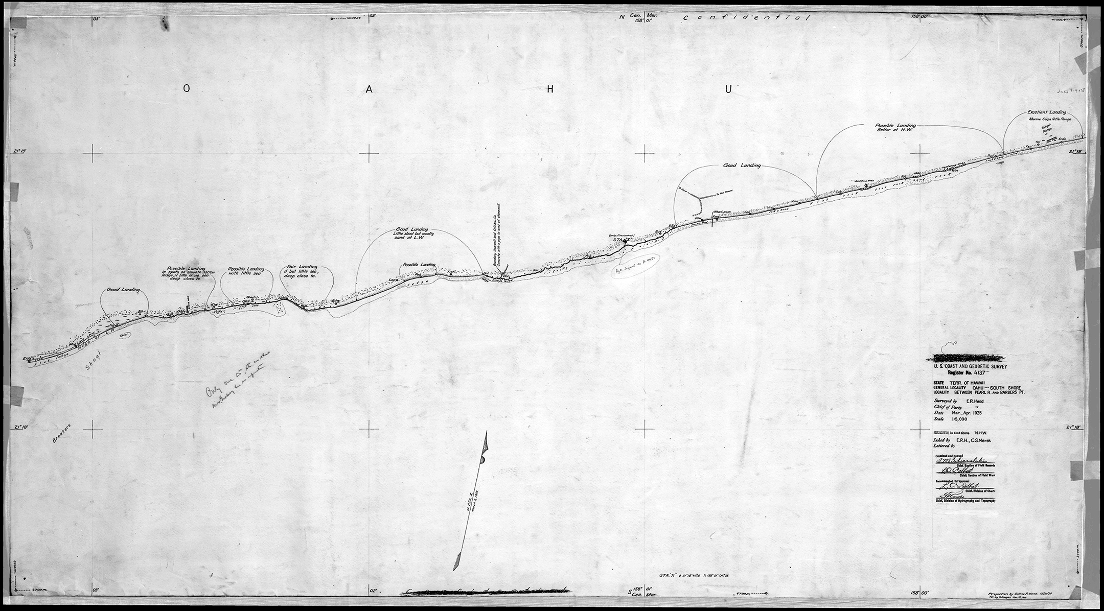 1925 u s coast and geodetic survey register no 4137 map showing sline from barbers point to marine corps rifle range